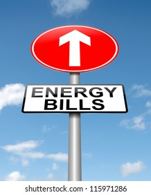 Illustration depicting a roadsign with a energy bill increase concept. Sky background.