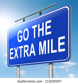 Illustration depicting a roadsign with a 'go the extra mile' concept. Sky  background.