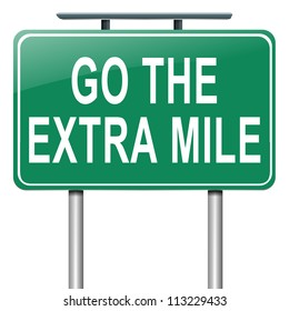 Illustration depicting a roadsign with a 'go the extra mile' concept. White  background.
