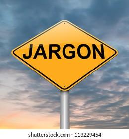 Illustration depicting a roadsign with a jargon concept. Dusk sky background.