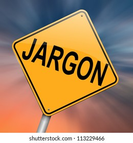 Illustration depicting a roadsign with a jargon concept. Abstract background.
