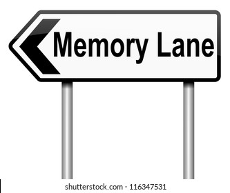 Illustration depicting a roadsign with a memory lane concept. White background.