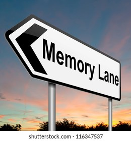 Illustration depicting a roadsign with a memory lane concept. Dusk sky background.