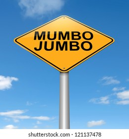 Illustration depicting a roadsign with a mumbo jumbo concept. Sky background.