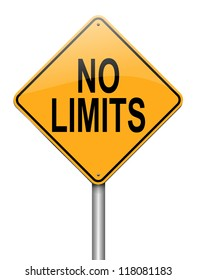 Illustration depicting a roadsign with a no limits concept. White background.