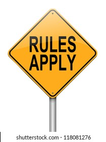 Illustration depicting a roadsign with a rules concept. White background.