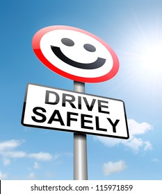 Illustration depicting a roadsign with a safe driving concept. Sky background.