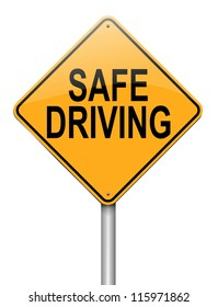 Illustration depicting a roadsign with a safe driving concept. White background.
