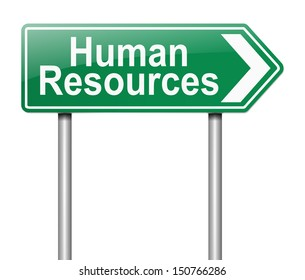 Illustration depicting a sign directing to Human Resources.