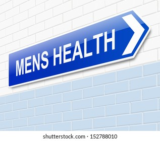 Illustration depicting a sign directing to Mens health.