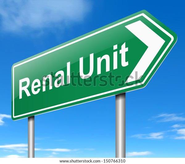 Illustration depicting a sign directing to Renal Unit.