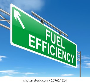 Illustration depicting a sign with a fuel effiency concept.