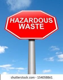 Illustration depicting a sign with a hazardous waste concept.