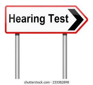 Illustration depicting a sign with a hearing test concept.