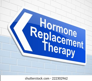 Illustration depicting a sign with a hormone replacement therapy concept.