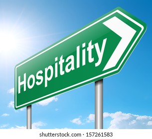 Illustration depicting a sign with a Hospitality concept.
