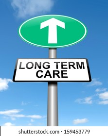 Illustration depicting a sign with a long term care concept.