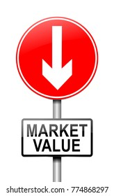 Illustration depicting a sign with a market value concept.