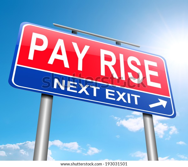 Illustration depicting a sign with a pay rise concept.