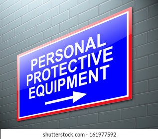 Illustration depicting a sign with a personal protective equipment concept.