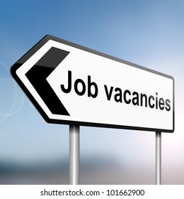 illustration depicting a sign post with directional arrow containing a job vacancies concept. Blurred background.