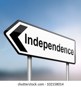 illustration depicting a sign post with directional arrow containing an independence concept. Blurred background.