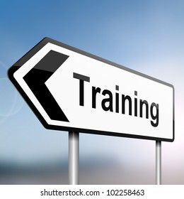 illustration depicting a sign post with directional arrow containing a training concept. Blurred background.