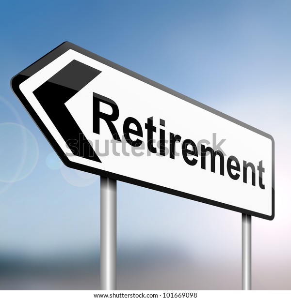 illustration depicting a sign post with directional arrow containing a retirement concept. Blurred background.