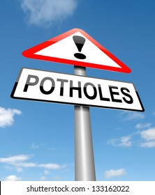 Illustration depicting a sign with a potholes concept.