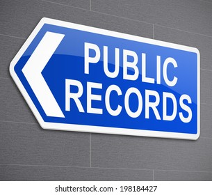 Illustration depicting a sign with a public records concept.