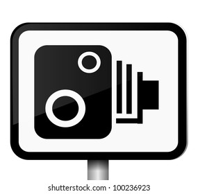 Illustration depicting a single black and white speed camera warning sign against white background.