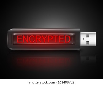 Illustration depicting a usb flash drive with an encryption concept.
