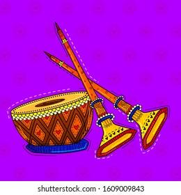 illustration of desi (indian) art style shehnai indian musical instrument.