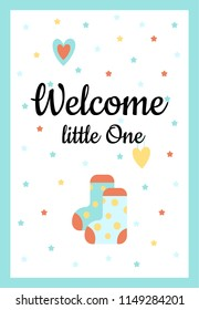 Illustration. Design card with hand lettering for baby shower. Cute funny socks and hearts with different childish elements. Poster for the kid's birthday.