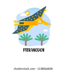 Illustration. Design card with pteranodon in the landscape. Flat style icon of dinosaur with text.