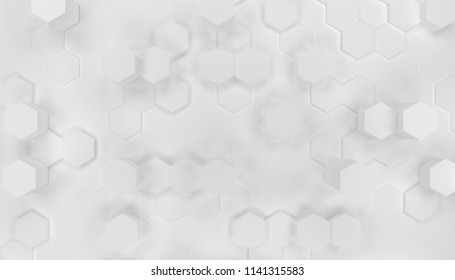 Illustration design of geometric hexagon surface. Grid pattern of waving hexagones. Pure white color.