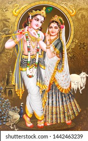 Illustration design of Lord Krishna playing bansuri (flute) with Radha Background