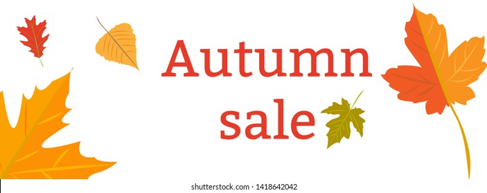 illustration. Design template. Autumn sales. Yellow autumn leaves