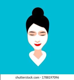 illustration design of woman using face mask skin care