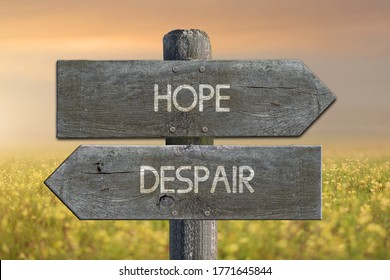 Illustration of despair and hope road sign.