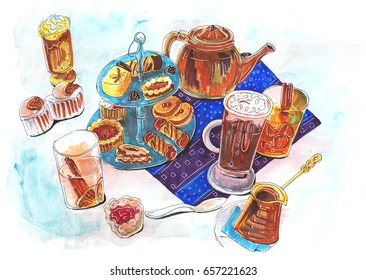 illustration of dessert table
