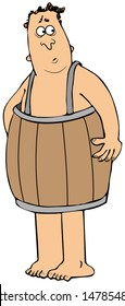 Illustration of a destitute man wearing only a wooden barrel for clothing.