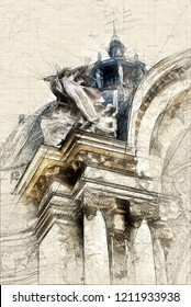 Illustration of Detail of the sculptures in the façade of the Petit Palais in Paris