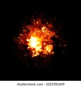 Illustration of a detailed fire explosion on black background