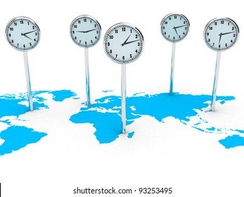 Illustration of different clocks on the world map