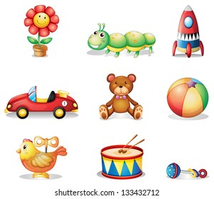 Illustration of the different kinds of toys for children on a white background