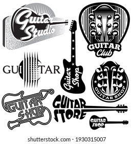 Illustration with different monochrome  guitars.
