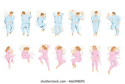 Illustration of different positions that they take in sleep and dream