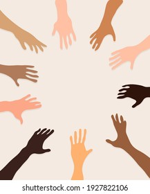 Illustration of different races joining hands.