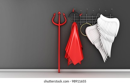 Illustration of different religious costumes on a hanger